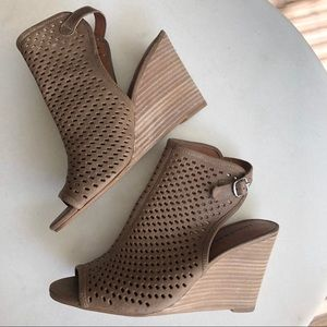 Lucky Brand Laser-Cut Wedge Leather Sandals